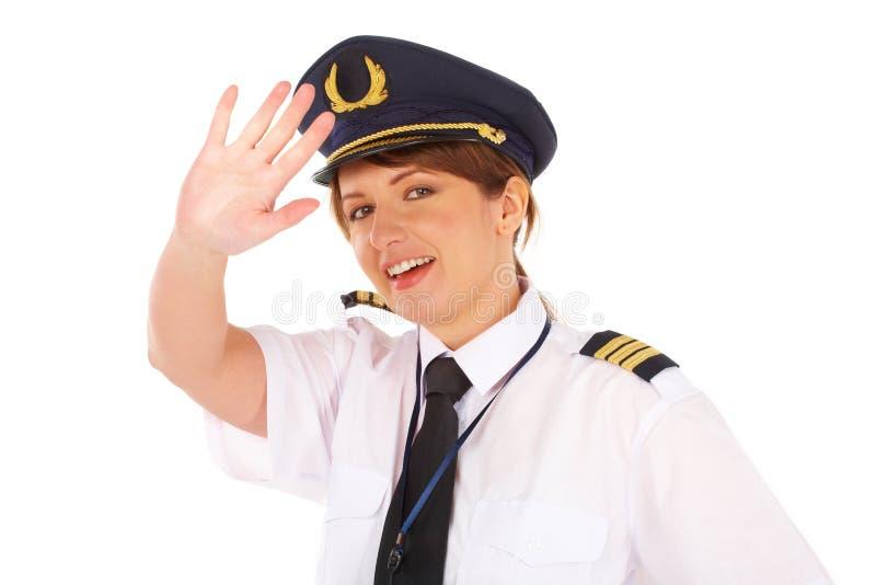 flygbolagkvinnligpilot arkivfoton