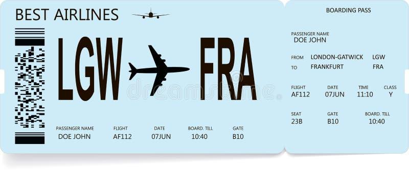 Flygbolaglogipasserande eller flygplanbiljett royaltyfri illustrationer