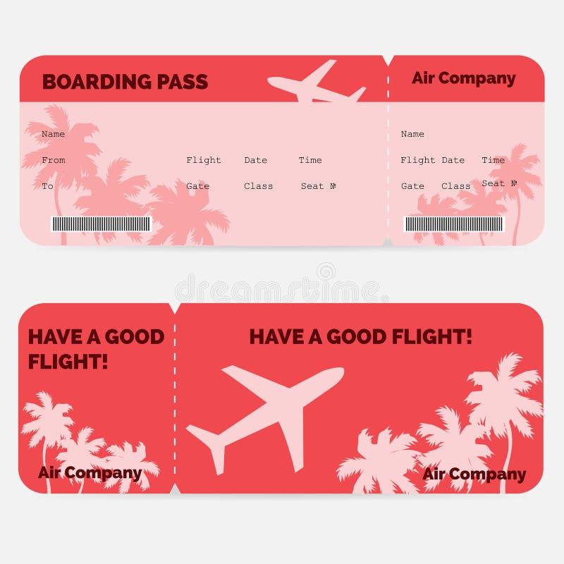 Flygbolaglogipasserande Röd biljett som isoleras på vektor illustrationer