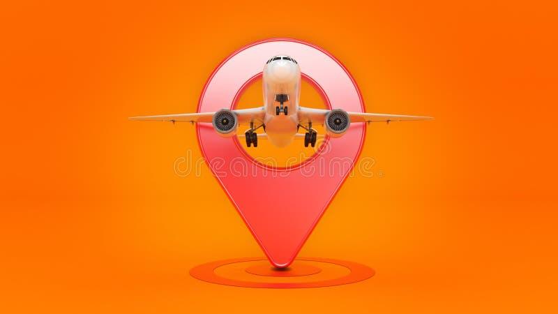 Flygbolagloppbegrepp Flygplatspekare Flygplan och stift som isoleras på vit vektor illustrationer