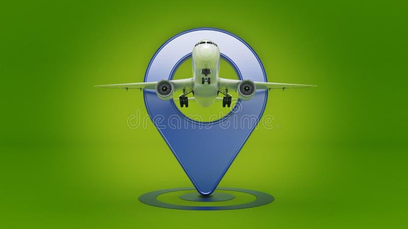 Flygbolagloppbegrepp Flygplatspekare Flygplan och stift som isoleras på vit royaltyfri illustrationer