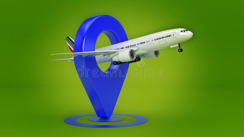 Flygbolagloppbegrepp Flygplatspekare Flygplan och stift som isoleras på vit stock illustrationer