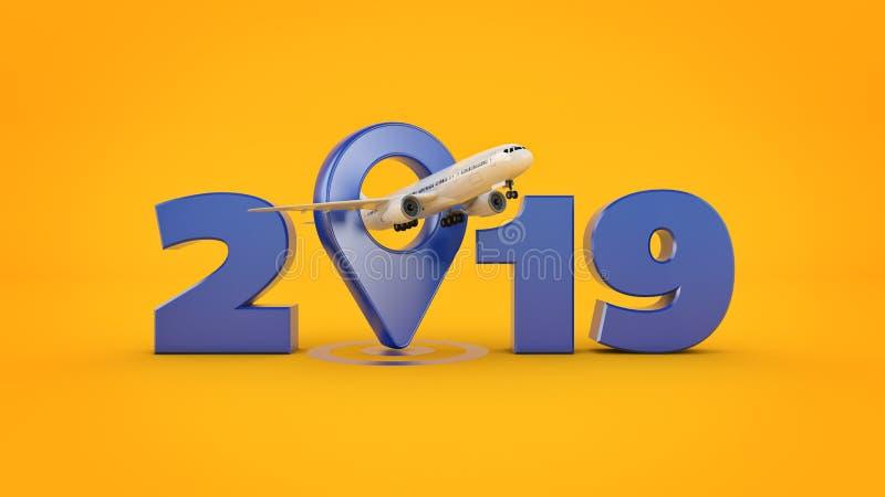 Flygbolagloppbegrepp Flygplatspekare tecken för nytt år 2019 framförande 3d stock illustrationer