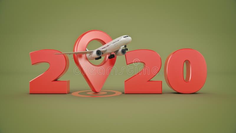 Flygbolagloppbegrepp Flygplatspekare tecken f?r nytt ?r 2020 stock illustrationer