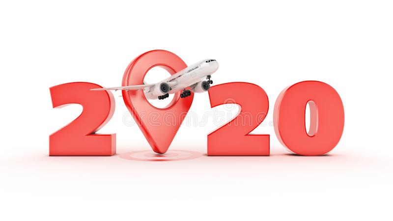 Flygbolagloppbegrepp Flygplatspekare tecken f?r nytt ?r 2020 vektor illustrationer