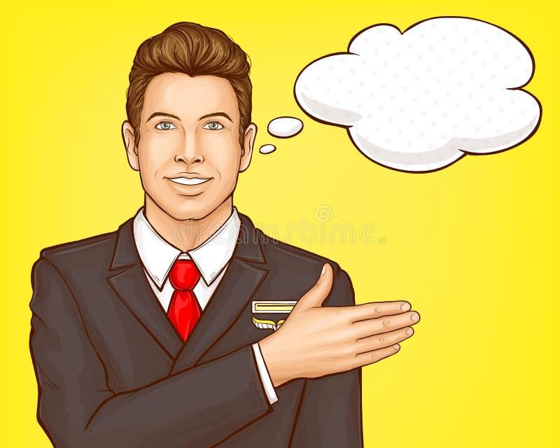 Flygbolagmarskalk, flygvärdinnavektorstående stock illustrationer