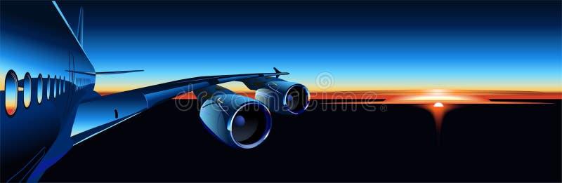 flygbusssoluppgångvektor royaltyfri illustrationer