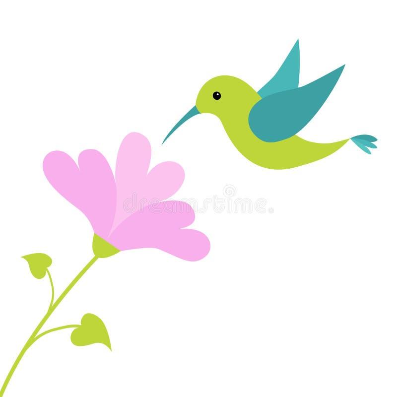 Flygcolibrifågel och hjärtablomma Gulligt tecknad filmtecken hummingbird isolerat vektor illustrationer