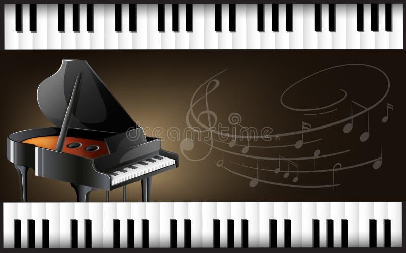 Flygel med tangentbord och musicnotes royaltyfri illustrationer