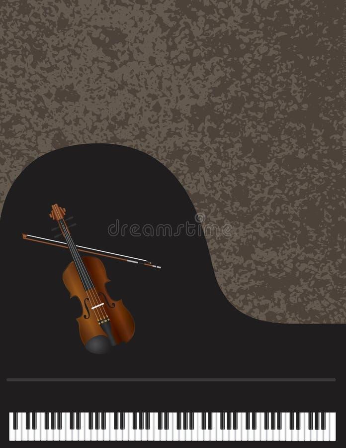 Flygel och fiol med bakgrund vektor illustrationer