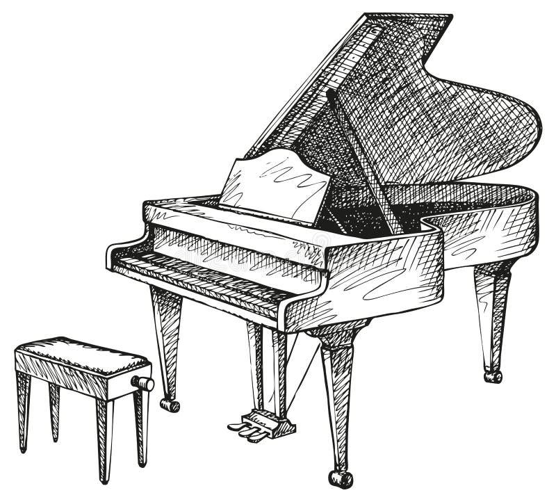 Flygel och stol för musiker stock illustrationer