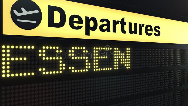 Flyget till Essen på avvikelser för internationell flygplats stiger ombord Resa till den begreppsmässiga tolkningen 3D för Tyskla vektor illustrationer