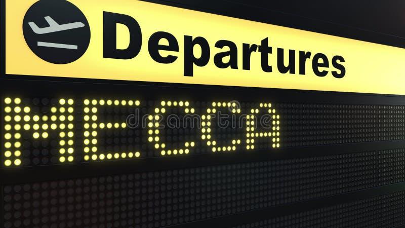 Flyget till Mecka på avvikelser för internationell flygplats stiger ombord Resa till Saudiarabien den begreppsmässiga tolkningen  stock illustrationer