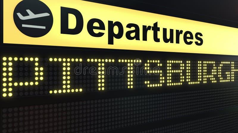 Flyget till Pittsburgh på avvikelser för internationell flygplats stiger ombord Resa till den begreppsmässiga tolkningen 3D för F vektor illustrationer