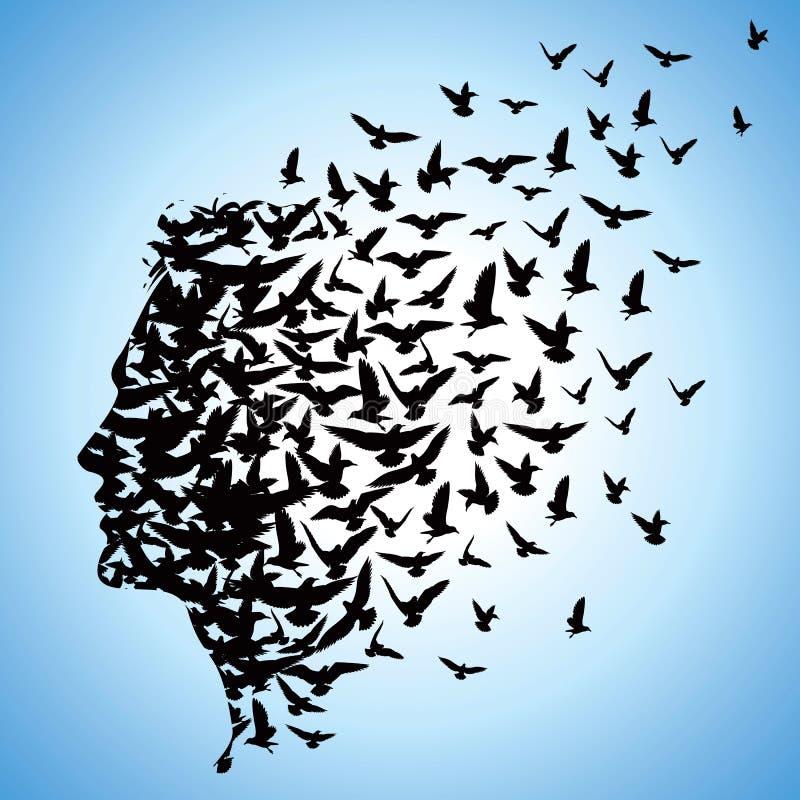 Flygfåglar till människahuvudet royaltyfri illustrationer