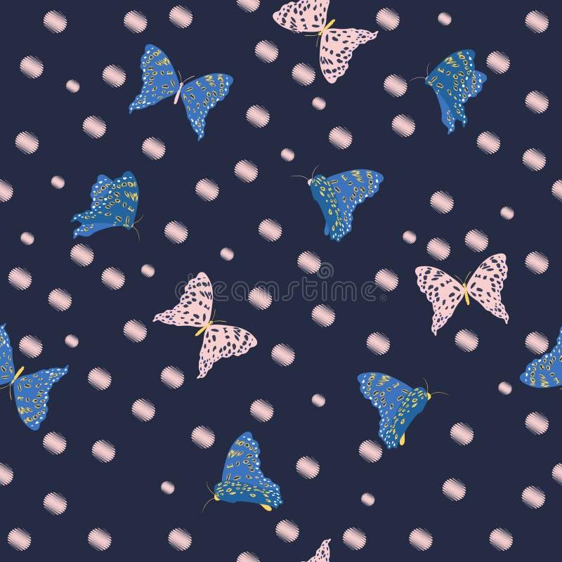 Flygfjärilar i den sömlösa modellen ve för trädgårds- mörk sommar royaltyfri illustrationer