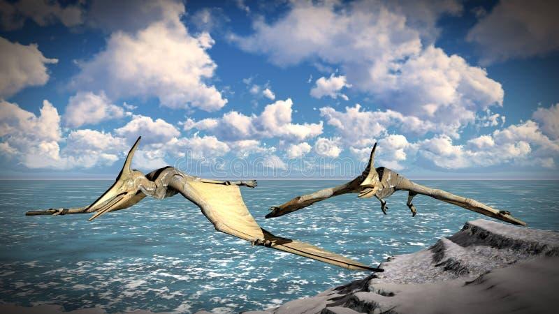 Flygflygödla över illustrationen för land 3d stock illustrationer