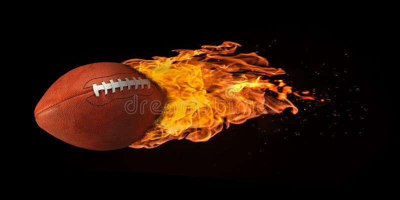 Flygfotboll som överväldigas i flammor fotografering för bildbyråer