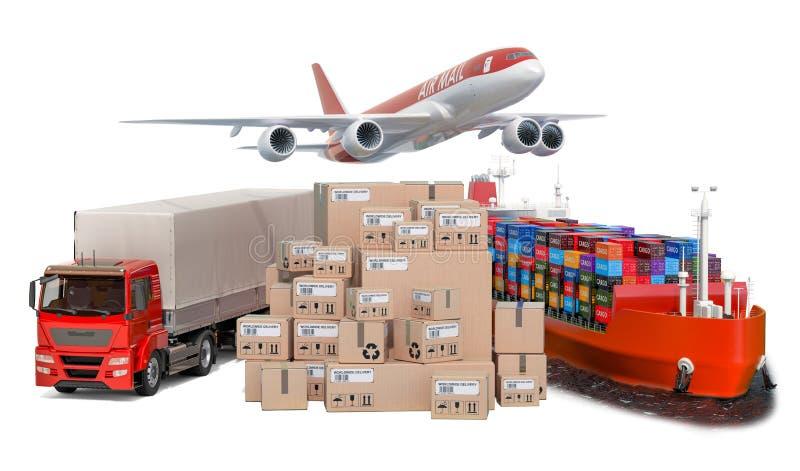 Flygfrakter, lastsändnings och frakttrans., leveransbegrepp framf?rande 3d stock illustrationer