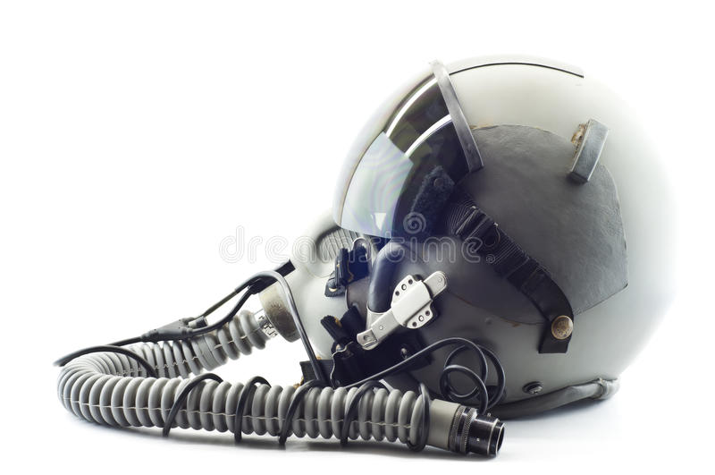 Flyghjälmen med syre maskerar. arkivbild