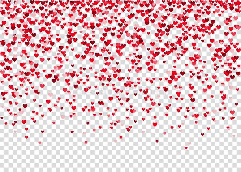 Flyghjärtakonfettier, valentindagbakgrund royaltyfri illustrationer