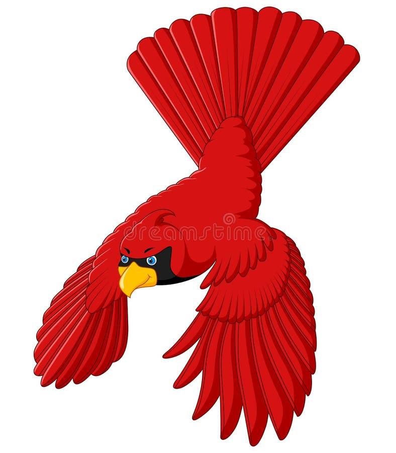 Flygkardinalfågel royaltyfri illustrationer
