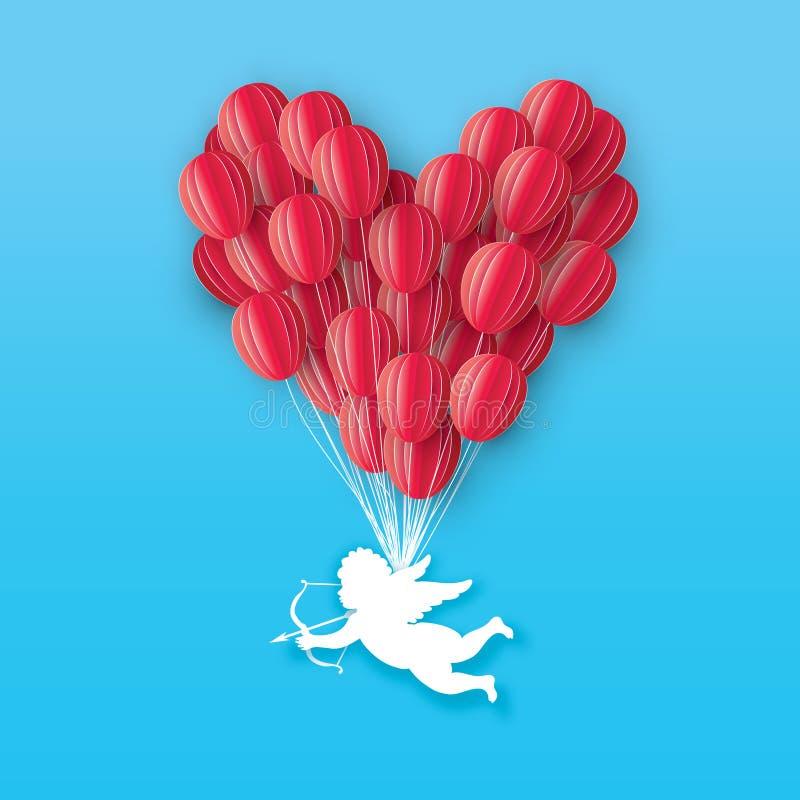 Flygkupidon - liten ängel Röd hjärta för förälskelse i papperssnittstil Origamipys - kerub Bow och pil sväller red royaltyfri illustrationer