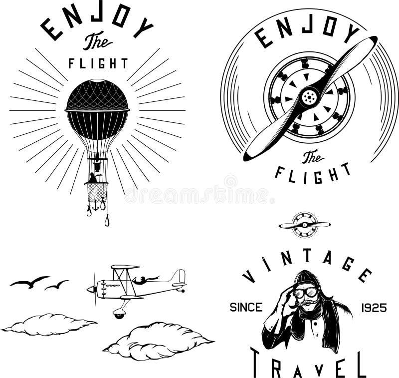 Flyglogoen ställde in svart flygplanbiplantappning stock illustrationer