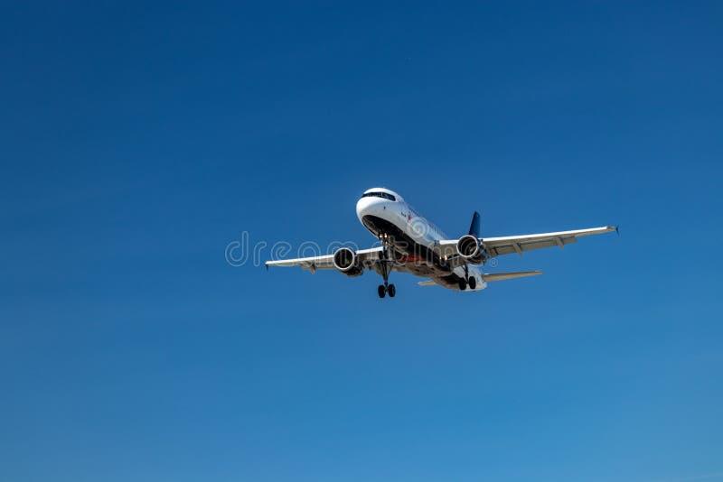 Flygmaskin som är glänsande under aftonsolen, innan att landa på Pearson International Airport, Toronto royaltyfri fotografi