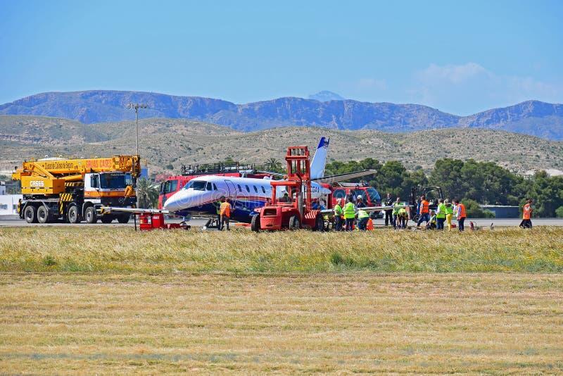 Flygolycka p? den Alicante flygplatsen royaltyfri bild