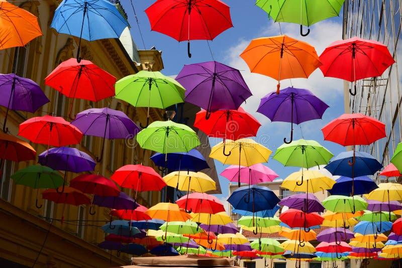 Flygparaply på gatan fotografering för bildbyråer