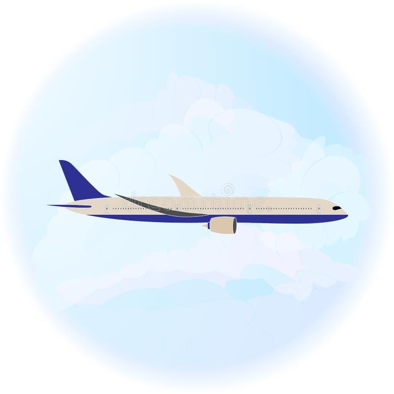 Flygpassagerarflygplan på ett ljus - bakgrund för blå himmel och moln bakgrunds- och färgbroschyr vektor illustrationer