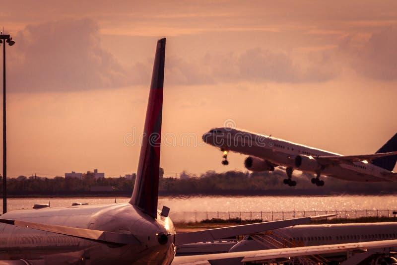 flygplan av att ta för solnedgång royaltyfri fotografi