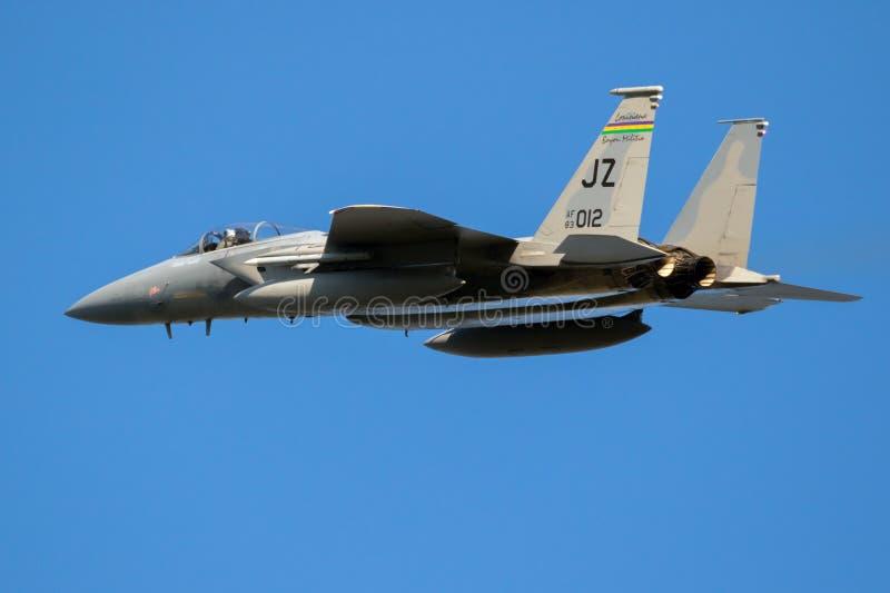 Flygplan för jaktflygplan för USA-flygvapen F-15C Eagle royaltyfri fotografi