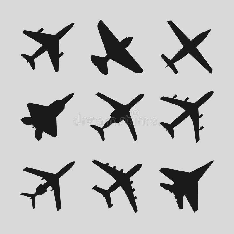Flygplan flygplanvektorsymboler stock illustrationer