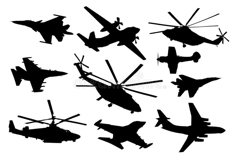 Flygplan helikopteruppsättning För konturvektor för militärt flygplan samling för etikettstextil för luft set vektor för transpor stock illustrationer