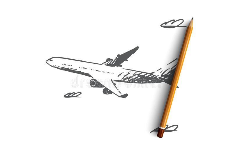 Flygplan himmel, flyg, transport, turbegrepp Hand dragen isolerad vektor royaltyfri illustrationer