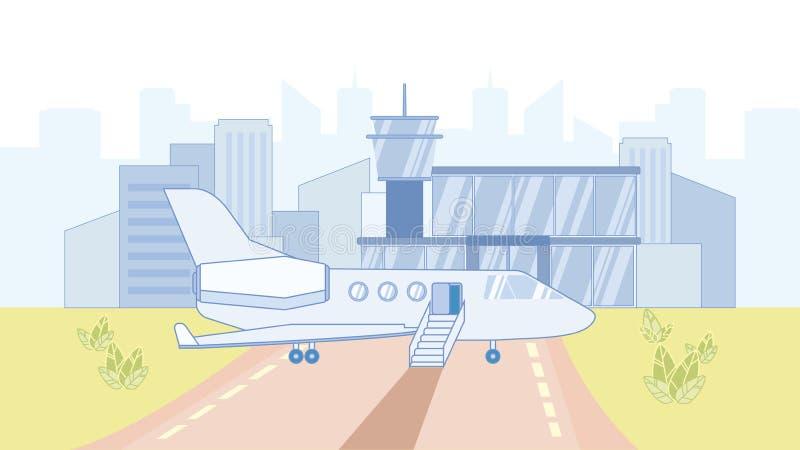 Flygplan i illustration f?r flygplatstecknad filmvektor royaltyfri illustrationer