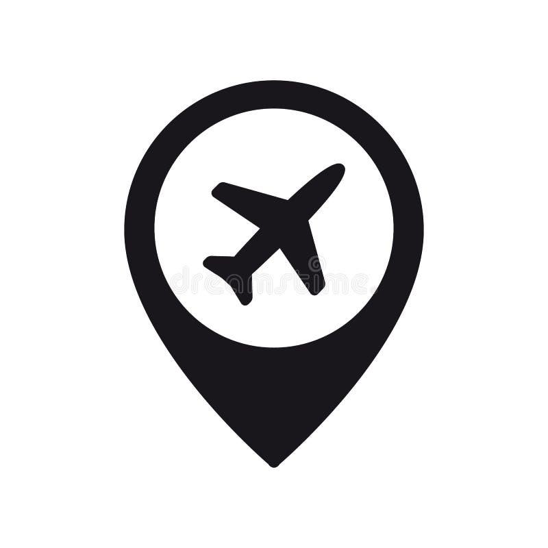 Flygplan i lägestiftsymbol Plan, flygplansymbol eller teckenbegrepp stock illustrationer