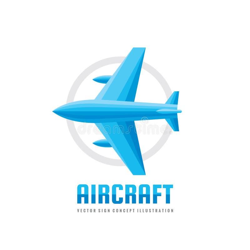 Flygplan - illustration för begrepp för mall för vektoraffärslogo i plan stil Idérikt tecken för flygplan Abstrakt symbol för fly royaltyfri illustrationer