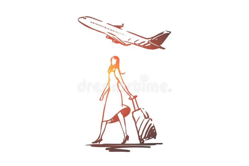 Flygplan kvinna, turist, resväska, flygbegrepp Hand dragen isolerad vektor royaltyfri illustrationer