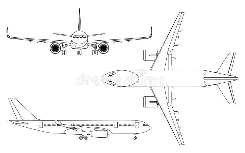Flygplan linjär symbolsuppsättning på en vit bakgrundsvektorillustration royaltyfri illustrationer