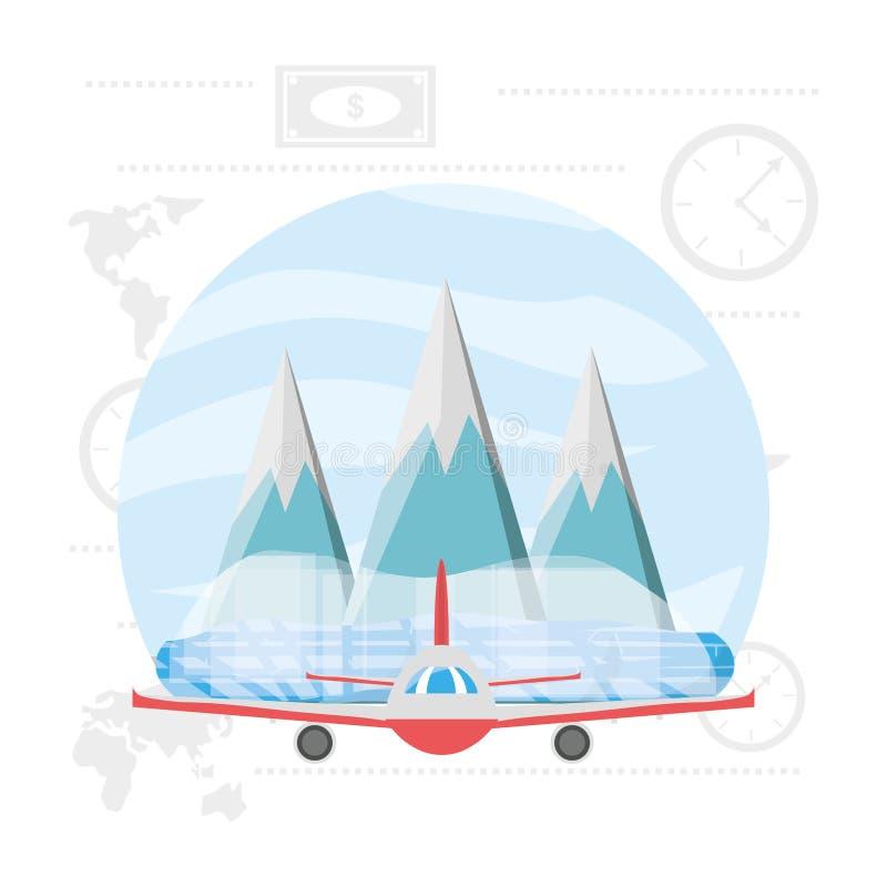 Flygplan med snöig berg med is stock illustrationer