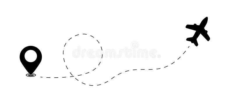 Flygplan- och översiktspekare, lägeupphittare, loppbegrepp - vektorillustration som isoleras på vit bakgrund royaltyfri illustrationer