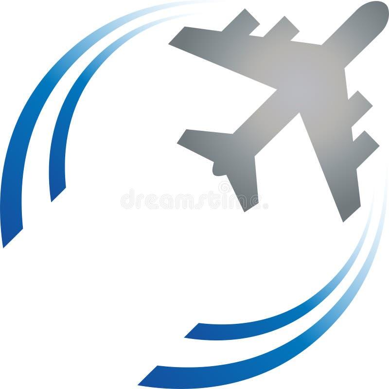 Flygplan och cirklar, flygplan i den rörelse-, flygplan- och lopplogoen, symbol, knapp vektor illustrationer