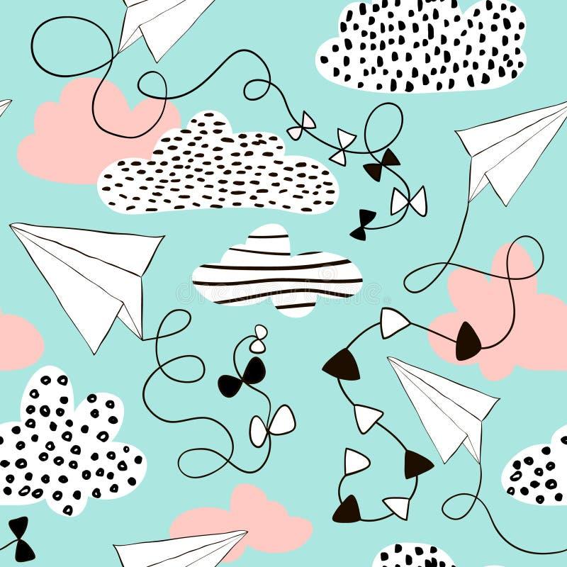 Flygplan och moln för sömlös modell pappers- Hand dragen idérik barnslig bakgrund också vektor för coreldrawillustration royaltyfri illustrationer