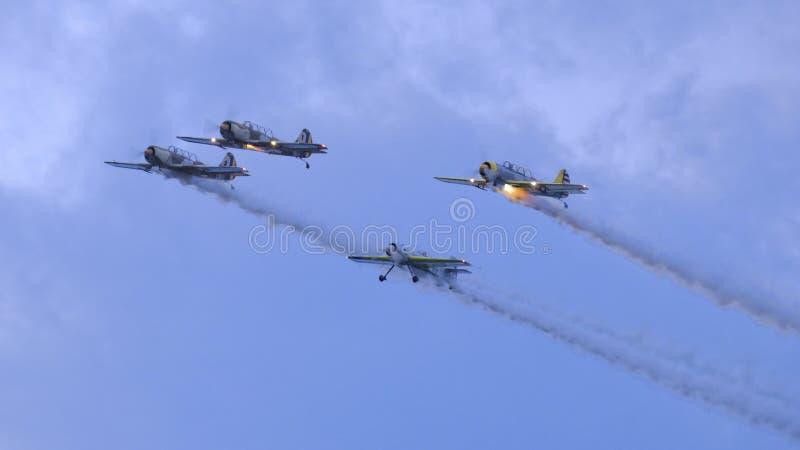 Flygplan på show arkivbild