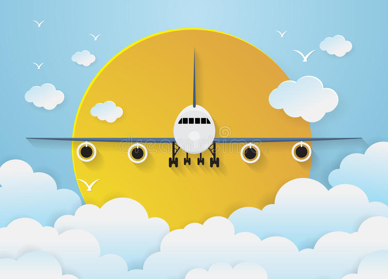 Flygplan` s med moln på himmelbakgrund stock illustrationer