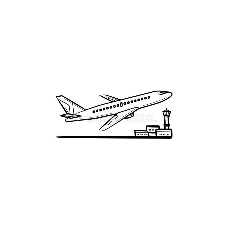 Flygplan som av tar den hand drog översiktsklottersymbolen royaltyfri illustrationer