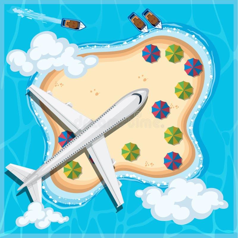 Flygplan som flyger över ön royaltyfri illustrationer